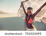 afro american female standing... | Shutterstock . vector #701023495