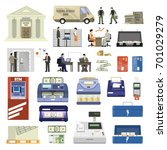 flat set of bank building...   Shutterstock .eps vector #701029279