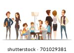 teenage boys sitting with... | Shutterstock .eps vector #701029381
