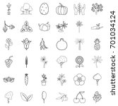 berry icons set. outline style...   Shutterstock .eps vector #701034124