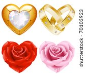 Shape Of Heart Set 4. Golden...