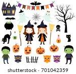 cute halloween vector set with... | Shutterstock .eps vector #701042359