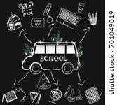 back to school chalkboard... | Shutterstock .eps vector #701049019