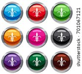 lily heraldic emblem set icon... | Shutterstock .eps vector #701067121
