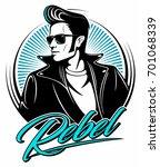 rockabilly rebel in leather... | Shutterstock .eps vector #701068339