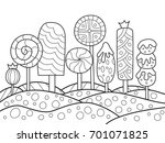 outlined doodle anti stress... | Shutterstock .eps vector #701071825