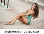 sexy tan woman in summer... | Shutterstock . vector #701075635