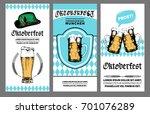 oktoberfest flyer. vector beer... | Shutterstock .eps vector #701076289