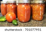 fresh homemade salsa canned and ...   Shutterstock . vector #701077951