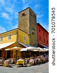 Small photo of MONTECATINI ALTO ITALY AUGUST 16: Giusti Square: coffee, restaurants in the medieval village, - August 16 2017 Montecatini Alto, Italy
