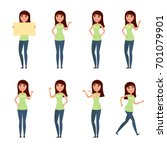 set of woman  girl in casual... | Shutterstock . vector #701079901
