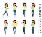 set of woman  girl in casual... | Shutterstock . vector #701079919