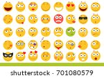 set of cute emoticons. emoji... | Shutterstock . vector #701080579