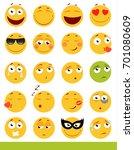 set of cute emoticons. emoji... | Shutterstock . vector #701080609