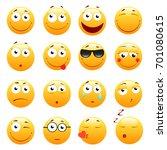 set of 3d cute emoticons. emoji ... | Shutterstock . vector #701080615