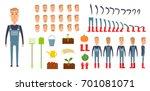 farmer character creation set.... | Shutterstock . vector #701081071