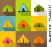 camp tent icons set. flat set... | Shutterstock .eps vector #701088319