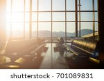 silhouette of passenger waiting ...   Shutterstock . vector #701089831