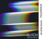 glitch effect of horizontal... | Shutterstock .eps vector #701090929