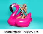stunning sexy blonde model in a ... | Shutterstock . vector #701097475