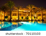 night pool side of rich hotel ... | Shutterstock . vector #70110103
