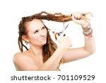 portrait of a caucasian girl... | Shutterstock . vector #701109529
