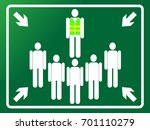 green assembly point sign.... | Shutterstock .eps vector #701110279