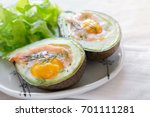 baked smoked salmon  egg in... | Shutterstock . vector #701111281