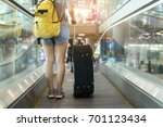 asian woman traveler standing...   Shutterstock . vector #701123434