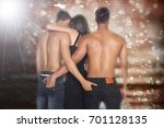 back view of threesome love... | Shutterstock . vector #701128135