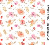 watercolor flower pattern.... | Shutterstock . vector #701143621