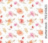 cute seamless watercolor flower ... | Shutterstock . vector #701143621