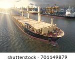 aerial view of cargo ship ... | Shutterstock . vector #701149879