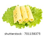 sliced maasdam cheese with... | Shutterstock . vector #701158375