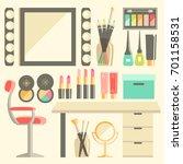 flat makeup worker s workplace ... | Shutterstock . vector #701158531