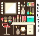 flat makeup worker s workplace ... | Shutterstock . vector #701158537