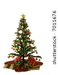christmas tree with red and... | Shutterstock . vector #7011676