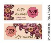 vector gift voucher  card... | Shutterstock .eps vector #701176201