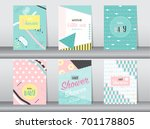 set of baby shower card on... | Shutterstock .eps vector #701178805