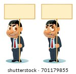 smiling man in suit holding... | Shutterstock .eps vector #701179855