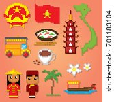 vietnam icons set. pixel art.... | Shutterstock .eps vector #701183104