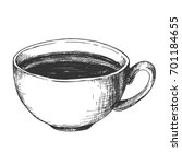 sketch ink graphic cup of... | Shutterstock .eps vector #701184655
