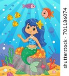 Cute Little Mermaid On The Sea...