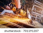 close up of a man sawing metal... | Shutterstock . vector #701191207