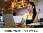beautiful business owner of a...   Shutterstock . vector #701195161