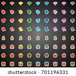 set of colorful flat game icons ... | Shutterstock .eps vector #701196331
