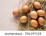 eggs on hay | Shutterstock . vector #701197129