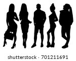 woman and man silhouettes | Shutterstock .eps vector #701211691