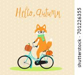 fox with bicycle and pumpkins... | Shutterstock .eps vector #701226355