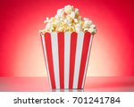 full container with popcorn... | Shutterstock . vector #701241784